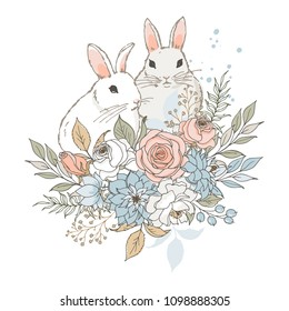 Vector illustration. Two little rabbits and bouquet of flowers. A lovely, gentle composition in pastel colors