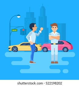 Vector illustration of two men arguing. Car accident on the background of the city. The cars are near a traffic light. The stubborn man does not want to listen to. Angry man shakes his fists.