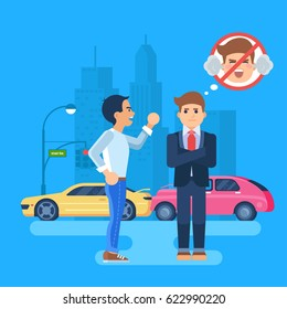 Vector illustration of two men arguing. Car accident on the background of the city. The cars are near a traffic light. The stubborn man does not want to listen to. The man tries to remain calm