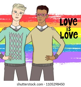 Vector illustration of two men hugging on brushed rainbow background with words love is love. Concept of gay love, lgbt movement, free love, gay rights, lesbian rights, equality, pride parade