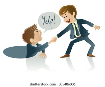 Vector illustration of two men one of whom helps another