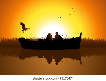 Vector illustration of two men silhouette fishing on the lake