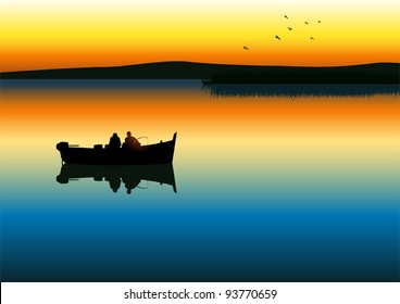 Vector illustration of two men silhouette fishing on tranquil lake
