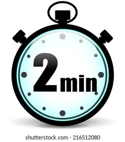 Vector illustration of two minutes stopwatch icon on white background