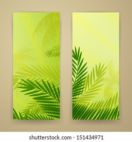 Vector Illustration of Two Nature Banners with Palm Trees