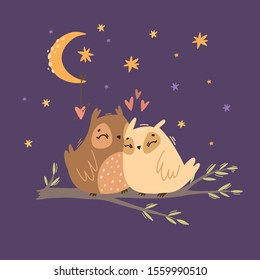 Vector illustration of two owls in love. romantic night sky with stars and moon. owls on a branch. cute birds