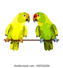 Vector Illustration Of Two Parrots On White Background Vector Budgie