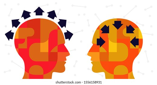 vector illustration of two people and arrows with extrovert and introvert orientation