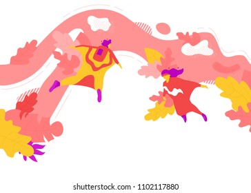 Vector illustration of two people having fun wingsuit flying in summer. Extreme sport concept.