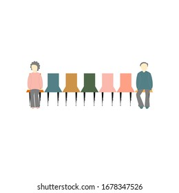 Vector illustration of two people sitting distance apart on row of chairs concept of social distancing to prevent or protect themselves from contracting coronavirus covid-19 during virus outbreak