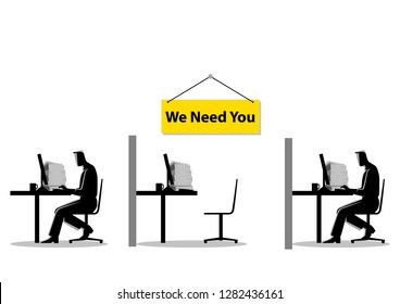Vector illustration of two people working on the computers with one empty desk. Job vacancy, new recruitment, trainee, occupation, job search theme