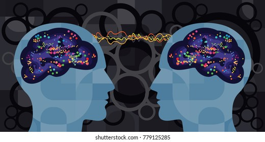 vector illustration of two peoples brain with supernatural mental connection for telepathy and hypnosis concepts