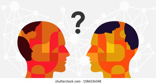 vector illustration two persons with faces inside and communication process for internal conflict and misunderstanding visual