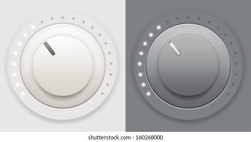 Vector illustration of two plastic volume knob