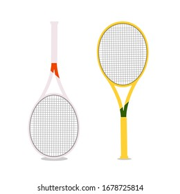 Vector illustration with two rackets isolated. Tennis rackets in white and yellow on a white background. Concept for cover, poster, sports article, brochure, banner.