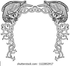 Vector illustration of two ravens gothic Celtic knot frame black and white