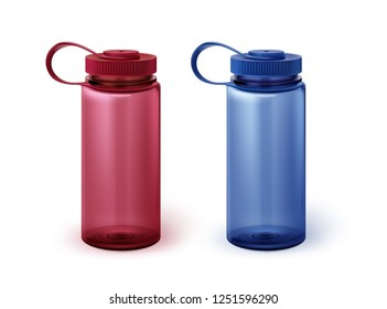 Vector illustration of two realistic plastic sport water bottles in red and blue colors isolated on white background