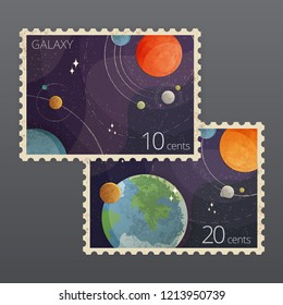 Vector illustration of two realistic vintage space postage stamps with planets isolated on background