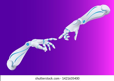 Vector illustration of two robotic hands ready to touch inspired by God Creating Man