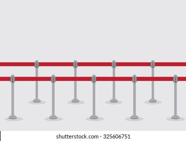 Vector illustration of two rows of queue poles and retractable belt barriers for crowd control and queuing lines isolated on grey background.