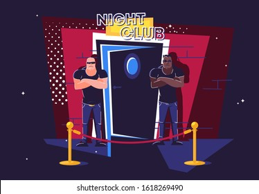 Vector illustration of two security guards standing at night at the entrance to the half-open door of a night club, a barrier in front of the entrance, face control