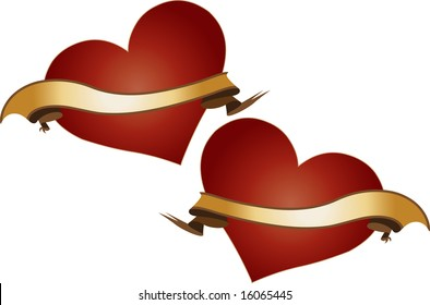 A vector illustration of two shiny red hearts with golden ribbons