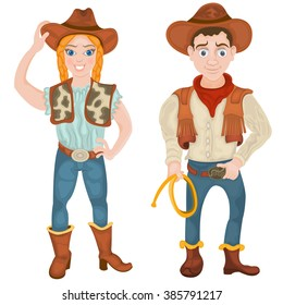 Vector illustration of two smiling cowboy characters: a girl and a boy.