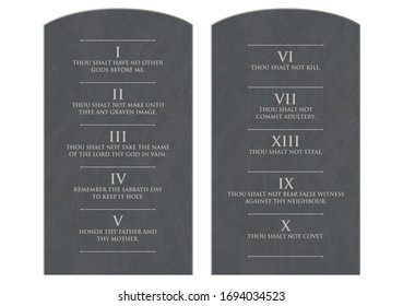 A vector illustration of two stone tablets with the ten commandments etched on them on an isolated white background