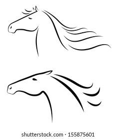 Vector illustration of two stylized horses heads