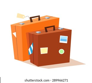 Vector illustration of two suitcases.