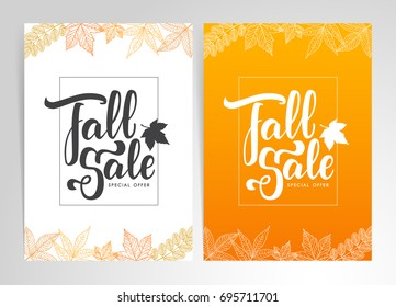 Vector illustration: Two template Fall Sale posters.