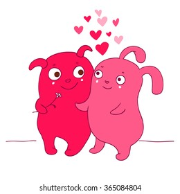 Vector illustration of Two ufo Cute characters with hearts couple for Happy Valentines Day greeting card. Cute romantic card with hearts, boy and girlfriend. Valentines card with funny cartoons.