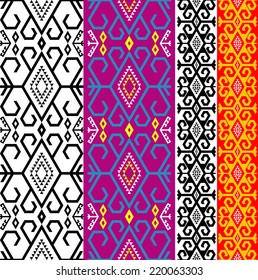 Vector illustration of two variants of  ethnic asian ornamental border black and color