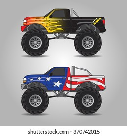 Vector illustration of two variations of monster trucks including fire burning truck and US flag truck