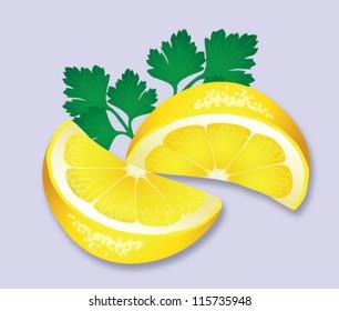 Vector illustration of two wedges of lemon with italian parsley garnish.