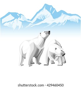 Vector illustration of two white polar bear on a background of of Icebergs.