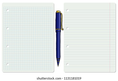 Vector illustration of two white school paper sheets, lined and chequered, with a ballpoint pen. Education background.
