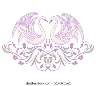 Vector illustration with two white swans and floral vignette, decorative elements isolated on white background