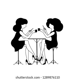 vector illustration of two women drinking coffee, girls talking in cafe, black silhouette on white background