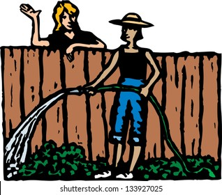 Vector illustration of two women neighbors talking over fence