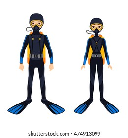 Vector illustration of two young scuba divers