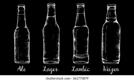 Vector illustration with types of beer retro chalkboard style: ale, lager, lambic, weizen