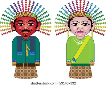 vector illustration of a typical bride doll as a symbol or mascot jakarta