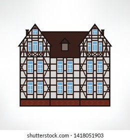 Vector illustration of typical half-timbered house, Rouen, France. Timber framing architecture element. Example  of rural architecture of France and Germany.
