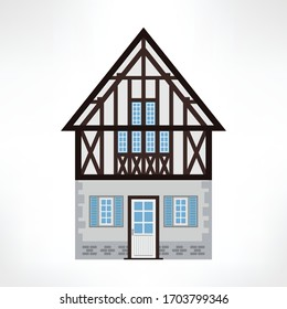 Vector illustration of typical half-timbered house, Rouen, France, front view. Timber framing architecture element. Example  of rural architecture of France and Germany.
