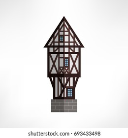 Vector illustration of typical half-timbered house, Rouen, France. Isolated ancient building.