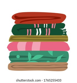Vector illustration of typical mix matched worn towels folded flat in layers. Ordinary bath towels of different size and color in a pile