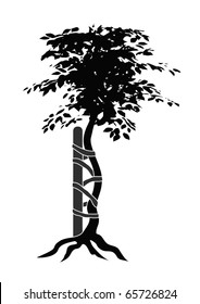 vector Illustration of the typical symbol for orthopedic medicals or doctors showing a buckled tree