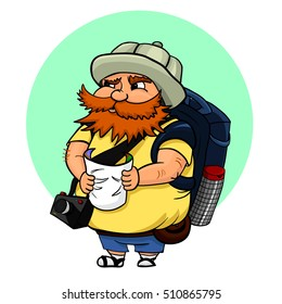 Vector illustration of typical tourist with map, camera and with a big backpack. A red-haired man in a tourist hat, searching some landmark