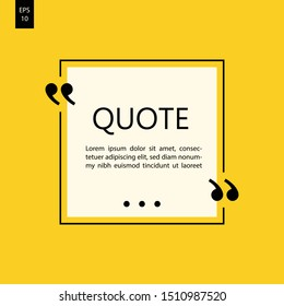 Vector illustration of typography design. Remark quote text box poster template concept. blank empty frame citation. Quotation paragraph symbol icon. double bracket comma mark. bubble dialogue banner.